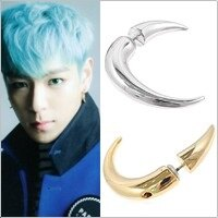 BIGBANG TOP 同款牛角造型長彎角耳環 (單支價)