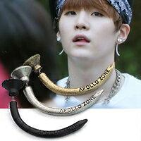 | Star World。Earring | BTS SUGA 同款釘子造型圓片長彎角耳環 (單支價)
