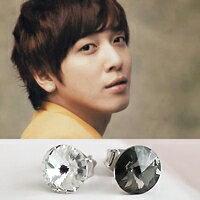   Star World。Earring   CNBlue 容和 同款簡單時尚水晶圓耳釘耳環 (單支價)