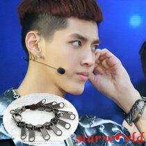 | Star World。Bracelets |  EXO Kris 吳亦凡 時尚拉鍊皮帶手環手鍊