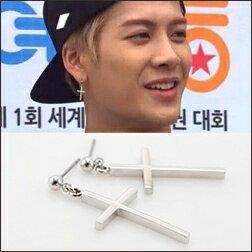 GOT7 Jackson 同款細緻交叉十字吊墜耳釘耳環 (單支價)