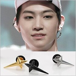 | Star World。Piercing | GOT7 JB 同款立體長十字鈦鋼穿刺耳環 (單支價)