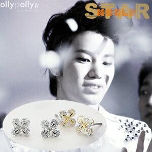Star World 明星飾界:INFINITE成鍾同款晶鑽幸運草耳釘耳環(單支價)