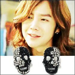 【特價】Team H 張根碩 同款黑白面具全鑽耳釘耳環 (單支價)