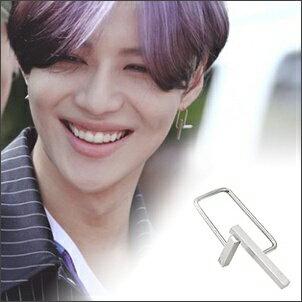 SHINee 泰民 同款韓國워헤드簡約雙T幾何迴旋鏤框穿刺鈦鋼耳環 (單支價)