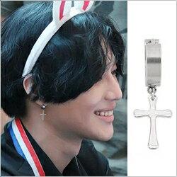 SHINee 泰民 同款銀光十字扣式圓環耳環 (單支價)