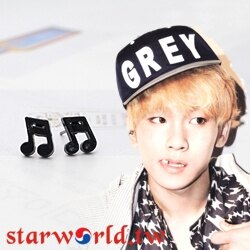 | Star World。Earring |  SHINee Key 同款簡潔設計黑色十六分音符造型耳釘耳環 (單支價)