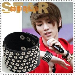 | Star World。Bracelets | SHINee KEY 溫流 同款對角線多排鉚釘龐克風格精緻皮革手環手鍊