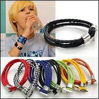 SHINee 泰民 同款彩色多層次編織皮革OT扣手環手鍊