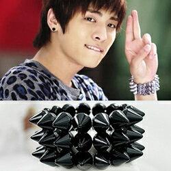 | Star World。Bracelets |  SHINee KEY 鐘鉉 溫流 泰民 珉豪 都愛用閃亮三排三角錐彈力手環手鍊