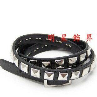 | Star World。Bracelets |  SHINee Key 溫流 泰民 同款方塊鉚釘多層次纏繞皮革手環手鍊