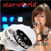   Star World。Bracelets   少女時代 太妍 Tiffany 潤娥 同款簡約圓鉚釘皮革手環
