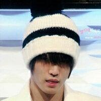| Star World。Caps | JYJ 金在中 BIGBANG 權志龍 同款黑白條紋大毛球手作針織毛線帽