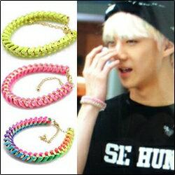 | Star World。Bracelets |  EXO SEHUN Luhan 同款方塊鉚釘編織彩繩手環手鍊