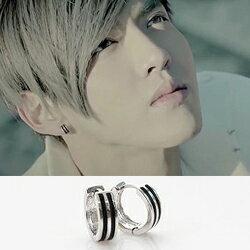 EXO 吳亦凡 同款線紋鈦鋼圓環耳環 (單支價)