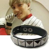 | Star World。Bracelets |  EXO  吳亦凡 邊伯賢 鹿晗 金鐘仁 同款單排方格鉚釘皮革手環