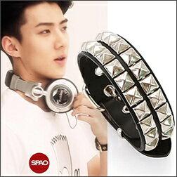 EXO SEHUN 同款皮帶式鉚釘皮革手環