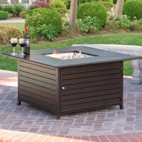 Best Choice Products 45x45in Extruded Aluminum Square Fire Pit Table for Outdoor Patio w/ Weather Cover, Tank Storage