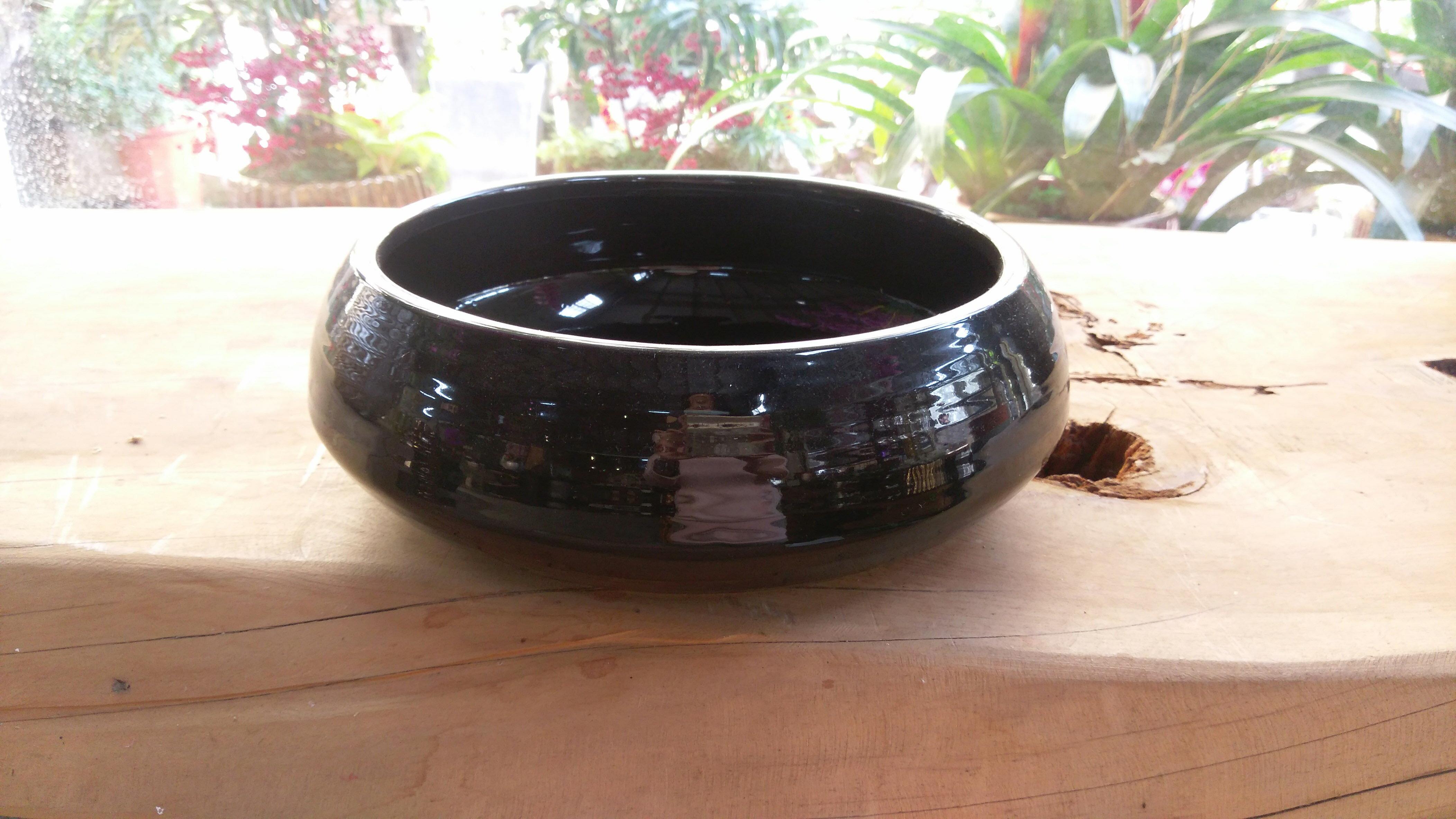 黑瓷圓盤典雅花器   瓷器   盆器   擺飾~棉花糖家飾 ~