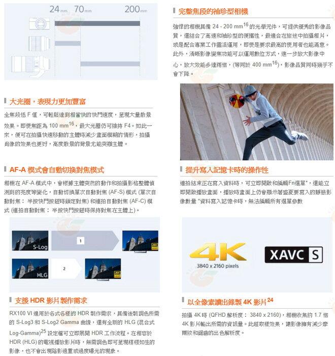 送原電+原廠座充+AG-R2等5好禮 SONY DSC-RX100VI RX100M6 台灣索尼公司貨 2