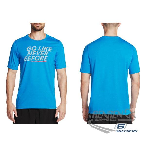 SKECHERS男短袖上衣(藍)舒適透氣排汗GMTS5ABLU【胖媛的店】