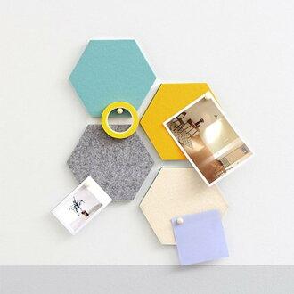 家居佈置壁貼 佈告欄 黑板 韓國時尚六角形毛氈牆貼 多色【SV7432】HappyLife