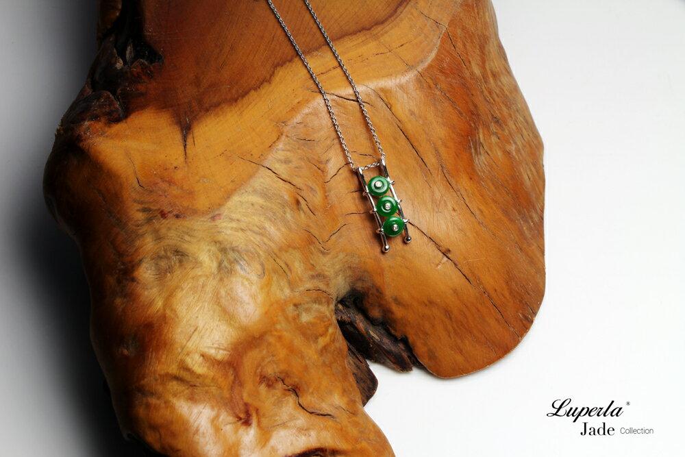大東山珠寶 事事如意 天然緬甸老坑玻璃種A貨翡翠 頂級真鑽18K白金項鍊 1