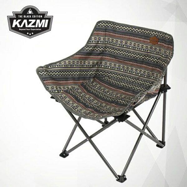 【露營趣】KAZMIK7T3C008GR彩繪民族風休閒折疊椅藍灰色摺疊椅休閒椅月亮椅童軍椅釣魚椅