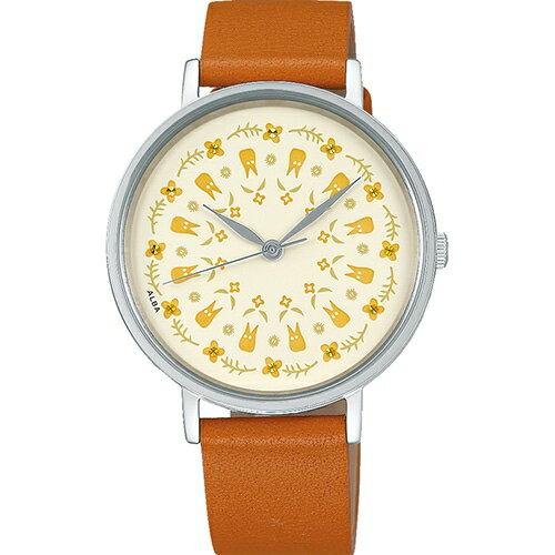【真愛日本】18081400011 牛革皮帶輕量ALBA圓錶-小白碎花米 totoro 龍貓 ALBA 牛革手錶 圓錶