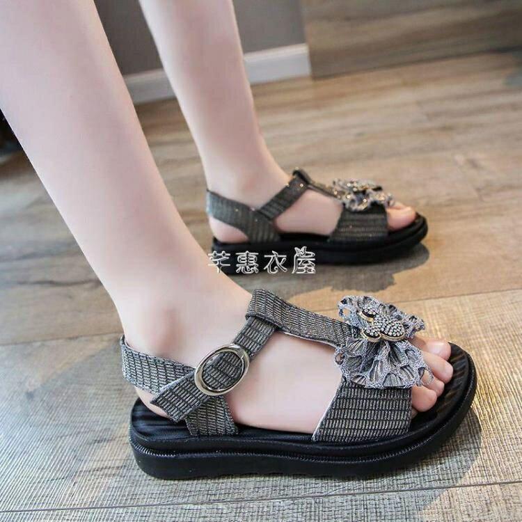女童涼鞋2021年夏季新款小女孩童鞋水鉆蝴蝶結軟底防滑小公主鞋子