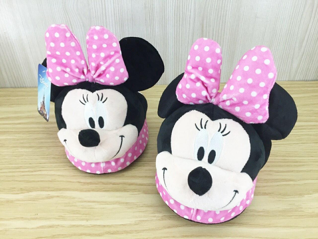 【真愛日本】15122600003 大頭絨毛室內拖鞋-米妮 米奇米妮 Mickey 保暖拖鞋 室內拖 生活居家