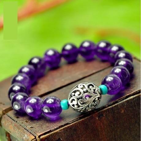 情定三月 銀古典綠松石紫水晶手鏈 女款紫晶手鏈