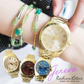 韓國GENEVA綺麗協奏曲羅馬刻度反光金屬鍊帶錶【WGE112】璀璨之星☆