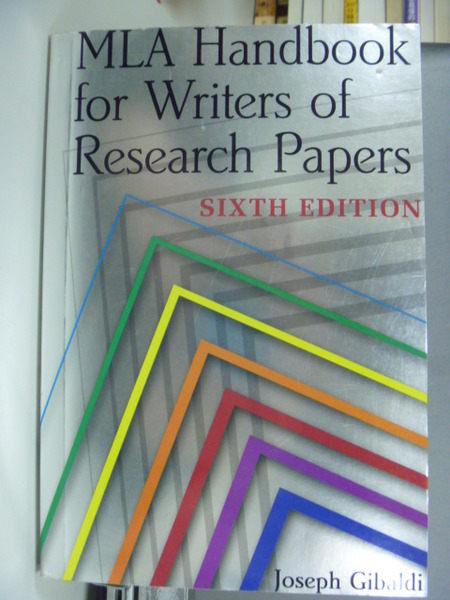 【書寶二手書T6╱大學文學_GDY】Mla Handbook for Writers of Research_Gibal
