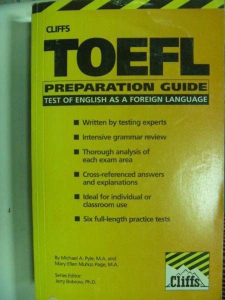 【書寶二手書T5/語言學習_IMV】Cliffs Toefl Preparation guide_Michael A.