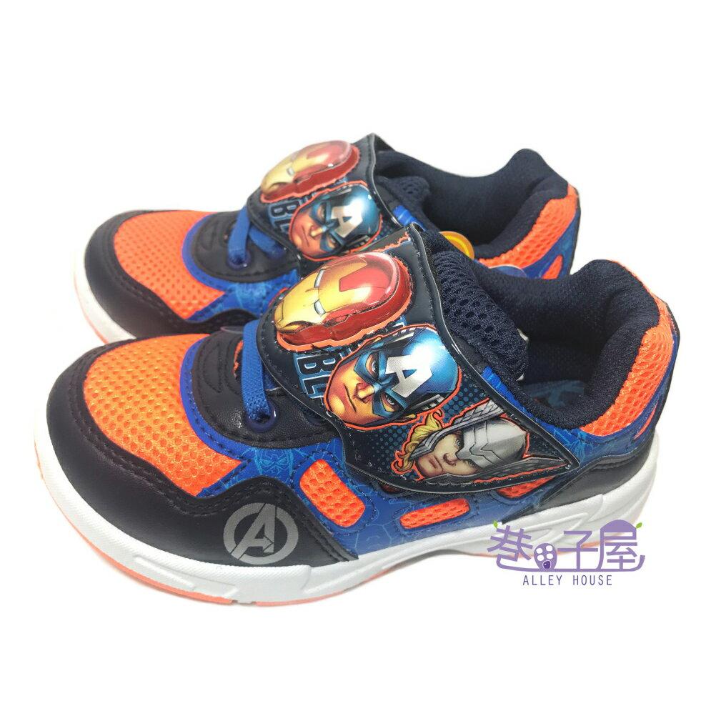 【巷子屋】MARVEL英雄系列 復仇者聯盟男童電燈造型運動休閒鞋 [59708] 藍桔 MIT台灣製造 超值價$198