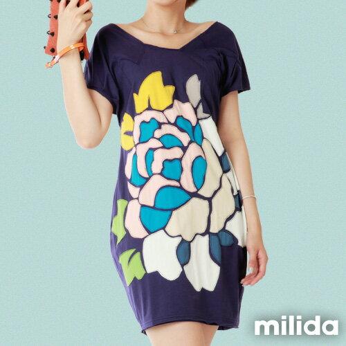 【Milida,全店七折免運】-夏季商品-拼貼款-氣質花卉洋裝 3