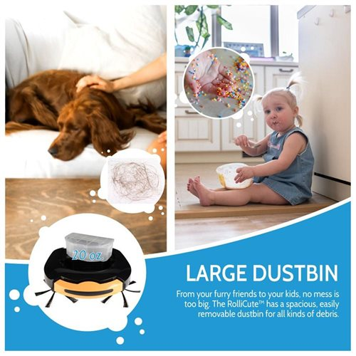 Best Value Award RolliCute Robotic Vacuum - Extra Large Container, Allergen & Pet Hair Filter, Pets/ 2