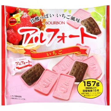 日本 BOURBON 北日本 草莓帆船巧克力餅 (袋裝) 157g 帆船巧克力餅 草莓巧克力 巧克力 草莓 餅乾
