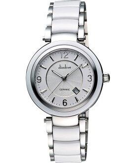 Diadem 黛亞登 8D1407-511S-W 魅影銀陶時尚腕錶/白面35mm