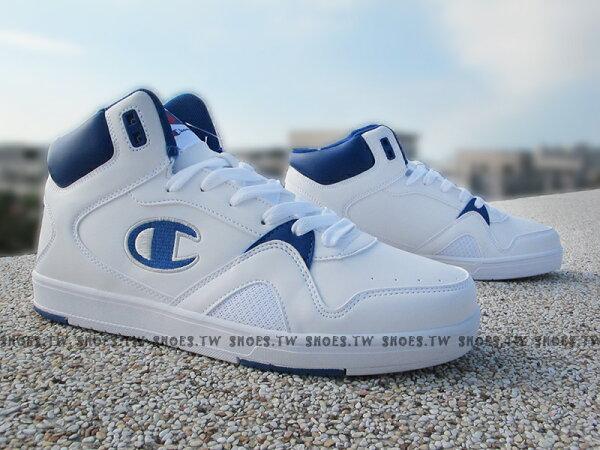 《限時特價990元》Shoestw【611210143】Champion休閒鞋板鞋中筒白藍皮革男生