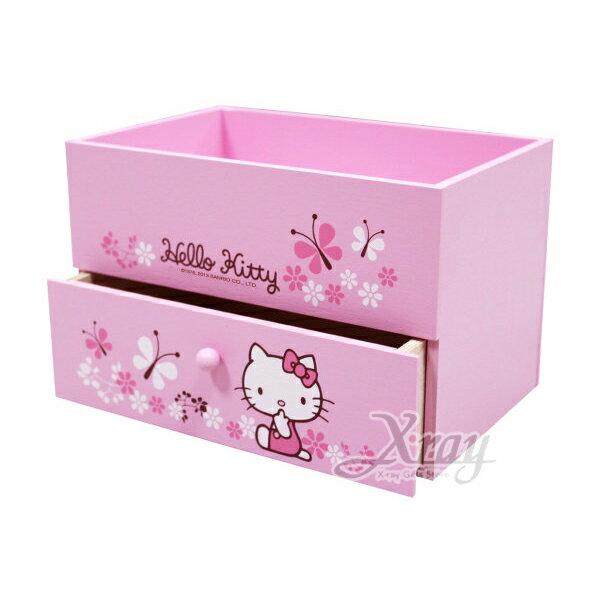 X射線【C521561】HelloKitty多用收納盒,置物櫃收納櫃收納盒抽屜收納盒木製櫃木製收納櫃收納箱桌上收納盒