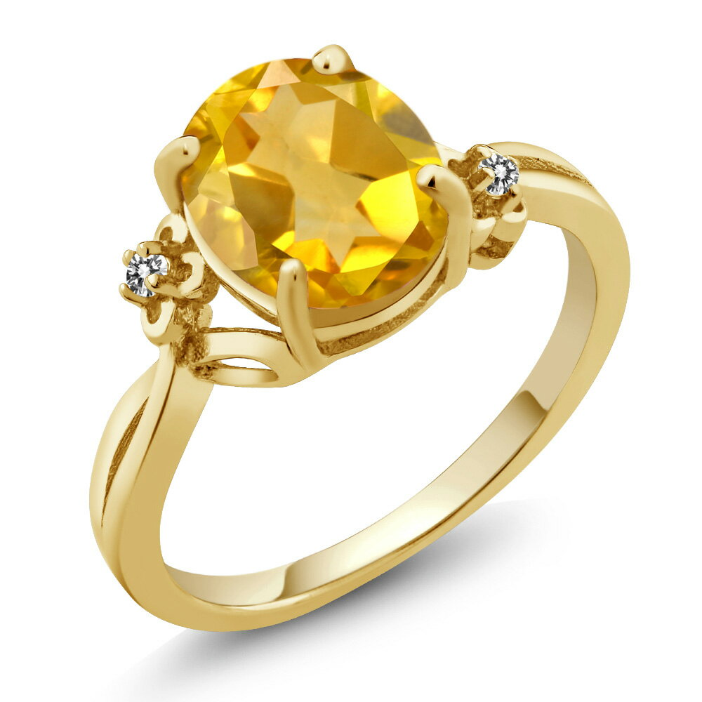 2.03 Ct Oval Yellow Citrine White Diamond 18K Yellow Gold Plated Silver Ring 0