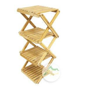 【露營趣】中和安坑 GO SPORT 44320 竹製四層架 摺疊架 折疊式置物架 層架