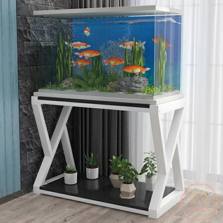 魚缸架簡約現代鐵藝魚缸底柜定做儲物架子實木簡易家用小型隔斷魚缸客廳【快速出貨】創時代3C 交換禮物 送禮