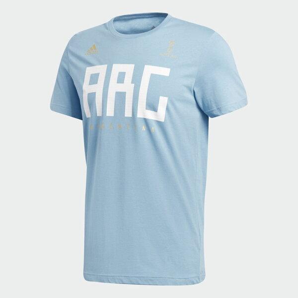 ADIDASARGENTINA男裝短袖休閒舒適世足賽阿根廷世界盃水藍【運動世界】CW1985