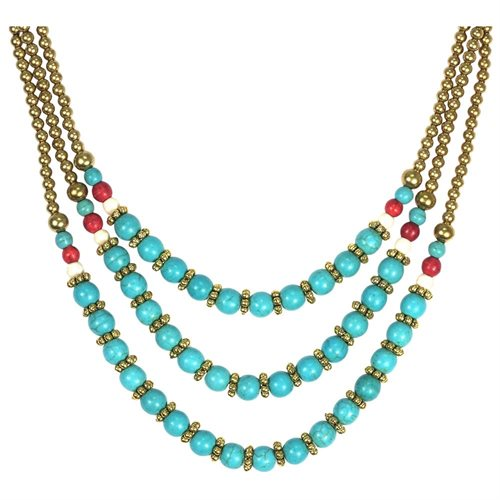 Classy Belle Triple Layer Turquoise Stone Brass Necklace 0