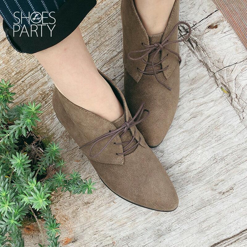 【B2-18121L】率性綁帶小尖頭短靴_Shoes Party 3