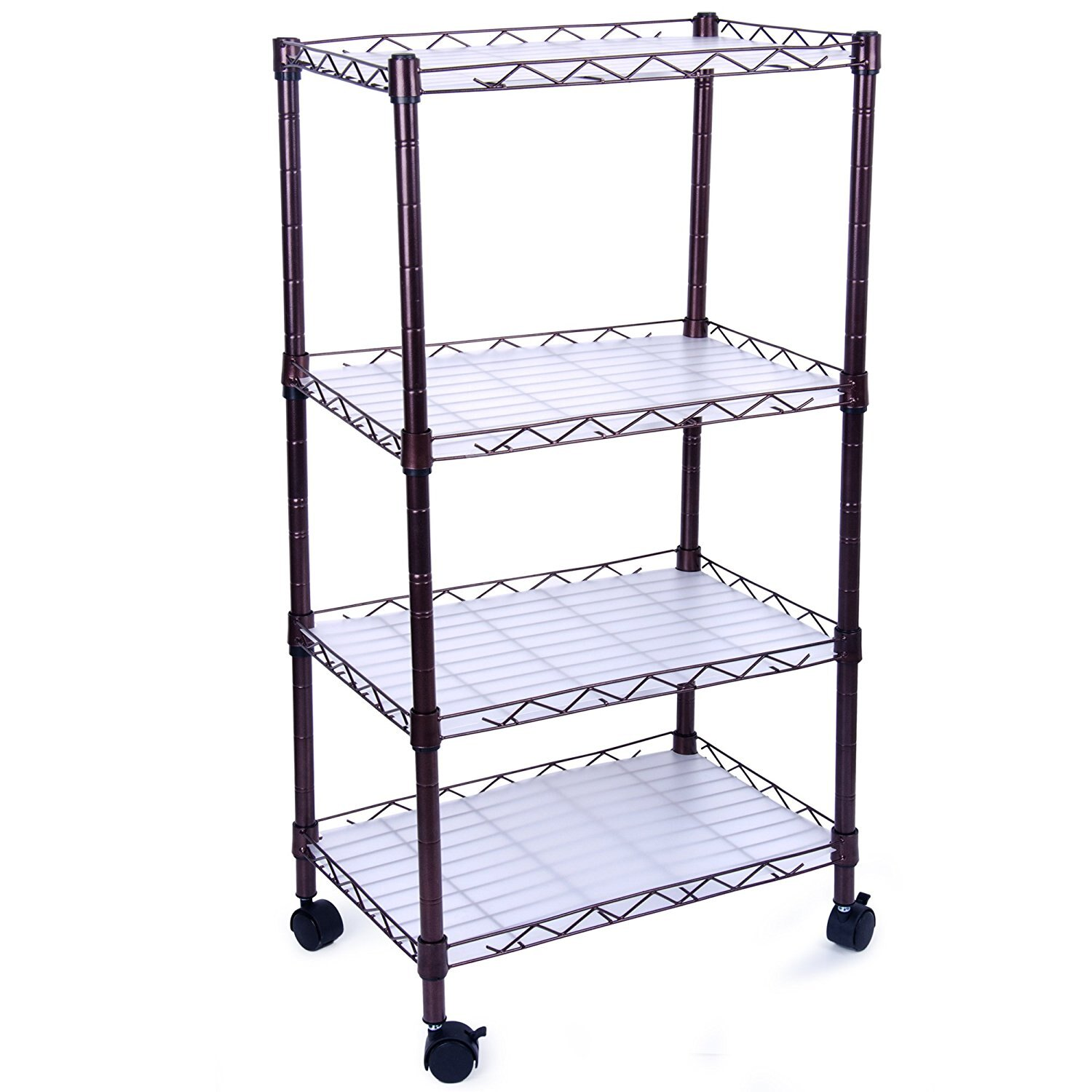 4 Tiers Adjustable Wire Metal Shelving Rack with Casters WSR04