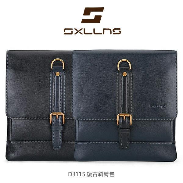 強尼拍賣~ 現貨出清 Sxllns 賽倫斯 SXLLNS D3115 復古斜肩包 側背包 單肩包 金屬拉鍊 特固合金